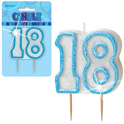 "BLUE NUMERAL ""18"" GLITTER NUMERAL AGE BIRTHDAY CANDLES"