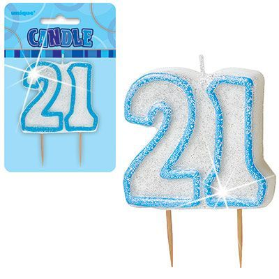 "BLUE NUMERAL ""21"" GLITTER NUMERAL AGE BIRTHDAY CANDLES"