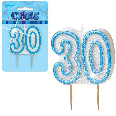"BLUE NUMERAL ""30"" GLITTER NUMERAL AGE BIRTHDAY CANDLES"