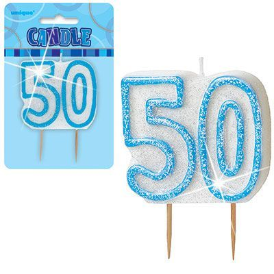 "BLUE NUMERAL ""50"" GLITTER NUMERAL AGE BIRTHDAY CANDLES"