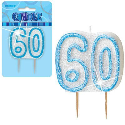 "BLUE NUMERAL ""60"" GLITTER NUMERAL AGE BIRTHDAY CANDLES"