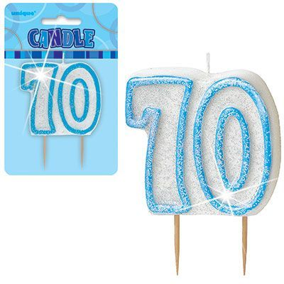 "BLUE NUMERAL ""70"" GLITTER NUMERAL AGE BIRTHDAY CANDLES"