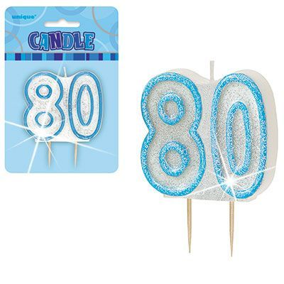 "BLUE NUMERAL ""80"" GLITTER NUMERAL AGE BIRTHDAY CANDLES"