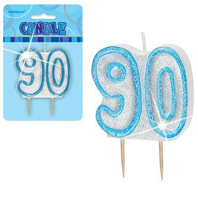"BLUE NUMERAL ""90"" GLITTER NUMERAL AGE BIRTHDAY CANDLES"