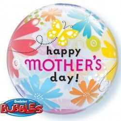 "BUTTERFLY FLORAL MOTHER'S DAY 22"" SINGLE BUBBLE"