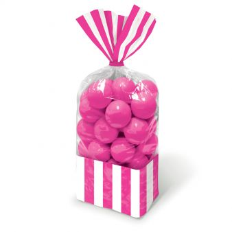 Candy Buffet Striped Party Bags Bright Pink