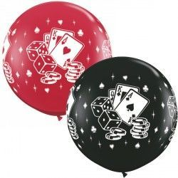 CASINO CARDS & DICE ASSORTMENT 3' ONYX BLACK & RUBY RED (2CT)