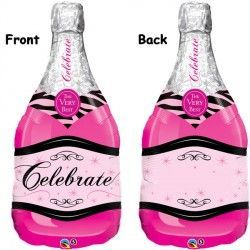 "CELEBRATE PINK BUBBLY WINE BOTTLE 39"" SHAPE GROUP B PKT"