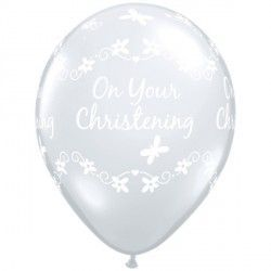 "CHRISTENING BUTTERFLIES 11"" DIAMOND CLEAR (50CT)"