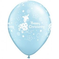 "CHRISTENING SOFT GIRAFFE 11"" PEARL LIGHT BLUE (50CT)"