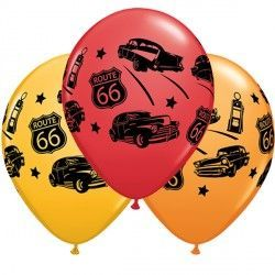 "CLASSIC CARS ON ROUTE 66 11"" GOLDENROD, RED & ORANGE (25CT)"
