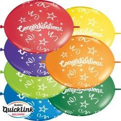 "CONGRATULATIONS QUICK LINK 12"" CARNIVAL ASSORTED (50CT)"