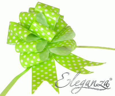 Eleganza Poly Pull Bows 50mm x 20pcs Polka Dot Lime Green No.14