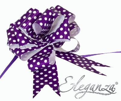 Eleganza Poly Pull Bows 50mm x 20pcs Polka Dot Purple No.36