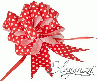 Eleganza Poly Pull Bows 50mm x 20pcs Polka Dot Red No.16