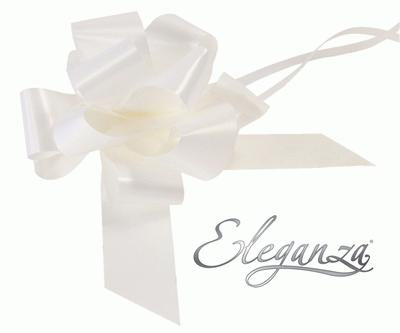 Eleganza Poly Pull Bows 50mm x 20pcs White