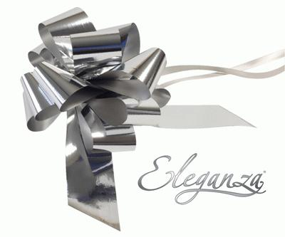 Eleganza Poly Pull Bows Metallic 50mm x 20pcs Silver