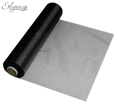 Eleganza Soft Sheer Organza 29cm x 25m Black