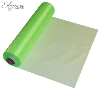 Eleganza Soft Sheer Organza 29cm x 25m Lime Green
