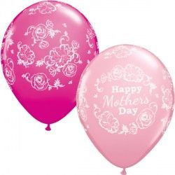 "FLORAL DAMASK MOTHER'S DAY 11"" PINK & WILD BERRY (25CT)"