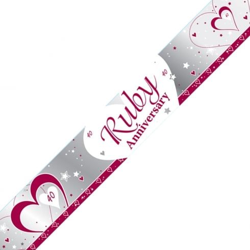 FOIL BANNER RUBY WEDDING ANNIVERSARY 9FT