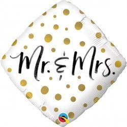 "GOLD DOTS MR. & MRS. 18"" PKT"