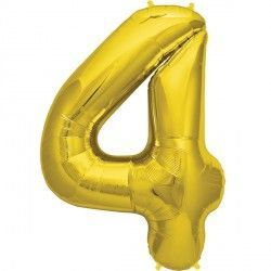 "GOLD NUMBER 4 SHAPE 16"" PKT"