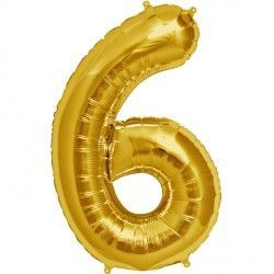 "GOLD NUMBER 6 SHAPE 16"" PKT"