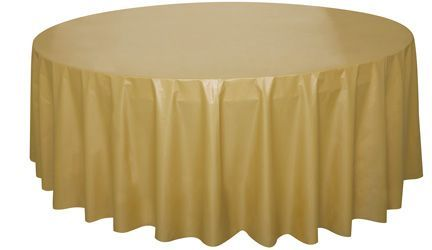 GOLD ROUND PLASTIC TABLECOVER