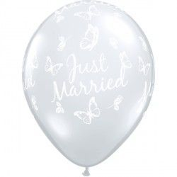 "JUST MARRIED BUTTERFLIES-A-ROUND 16"" DIAMOND CLEAR (50CT)"