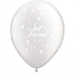 "JUST MARRIED FLOWERS-A-ROUND 11"" PEARL WHITE (25CT)"