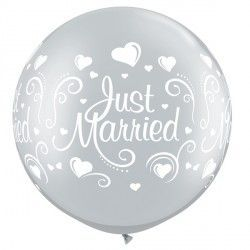 "JUST MARRIED HEARTS 30"" SILVER (2CT)"