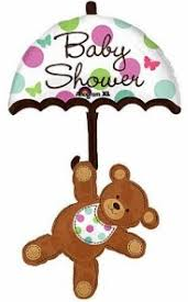 Large Bear & Umbrella Baby Shower Shape