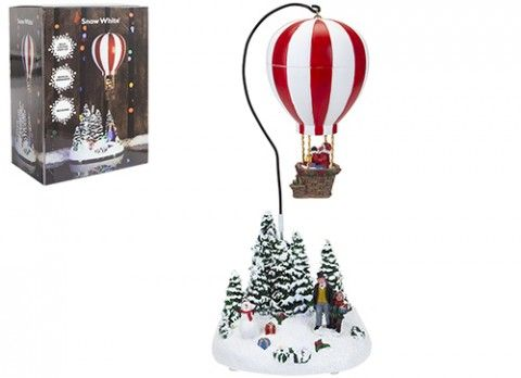 LIGHT UP CHRISTMAS SCENE WITH REVOLVING HOT AIR BALLOON