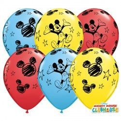 "MICKEY MOUSE 11"" RED, YELLOW & PALE BLUE (25CT)"
