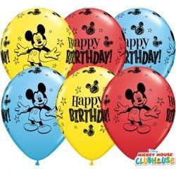 "MICKEY MOUSE BIRTHDAY 11"" RED, YELLOW & PALE BLUE (25CT)"