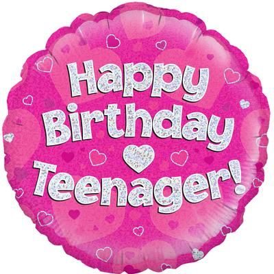 "Oaktree 18"" Happy Birthday Teenager Pink"