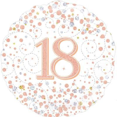 Oaktree 18th Sparkling Fizz Birthday White & Rose Gold Holographic