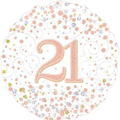 Oaktree 21st Sparkling Fizz Birthday White & Rose Gold Holographic