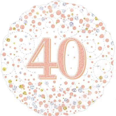 Oaktree 40th Sparkling Fizz Birthday White & Rose Gold Holographic