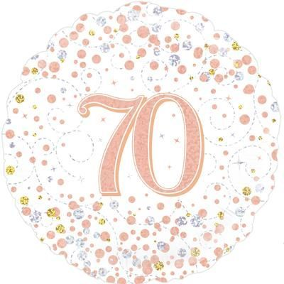 Oaktree 70th Sparkling Fizz Birthday White & Rose Gold Holographic