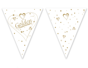 PAPER FLAG BUNTING 12FT GOLDEN WEDDING ANNIVERSARY