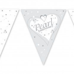 PAPER FLAG BUNTING 12FT PEARL WEDDING ANNIVERSARY