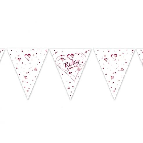 PAPER FLAG BUNTING 12FT RUBY WEDDING ANNIVERSARY