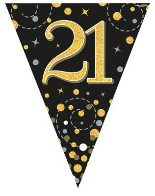 Party Bunting Sparkling Fizz 21 Black & Gold Holographic 11 flags 3.9m