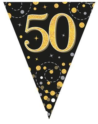 Party Bunting Sparkling Fizz 50 Black & Gold Holographic 11 flags 3.9m