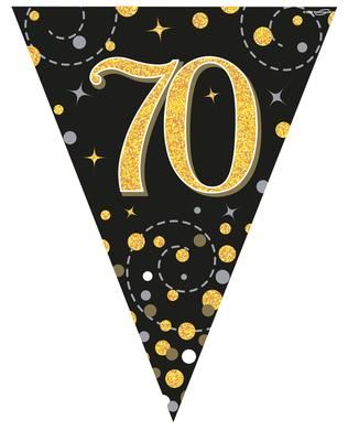 Party Bunting Sparkling Fizz 70 Black & Gold Holographic 11 flags 3.9m