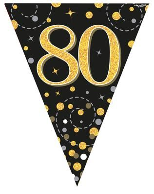 Party Bunting Sparkling Fizz 80 Black & Gold Holographic 11 flags 3.9m