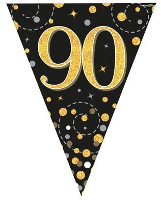 Party Bunting Sparkling Fizz 90 Black & Gold Holographic 11 flags 3.9m