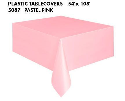 PASTEL PINK PLASTIC TABLECOVER